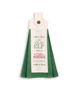 Demdaco Old Elf Cute Reindeer Button Loop Tea Towel