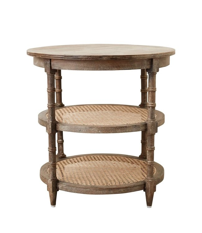 Creative Co-Op Mango Wood Table with Cane Shelves