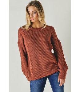 Davi & Dani Red Wood Round Neck Long Sleeve Sweater