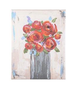 Glory Haus Flowers In Gray Vase Canvas