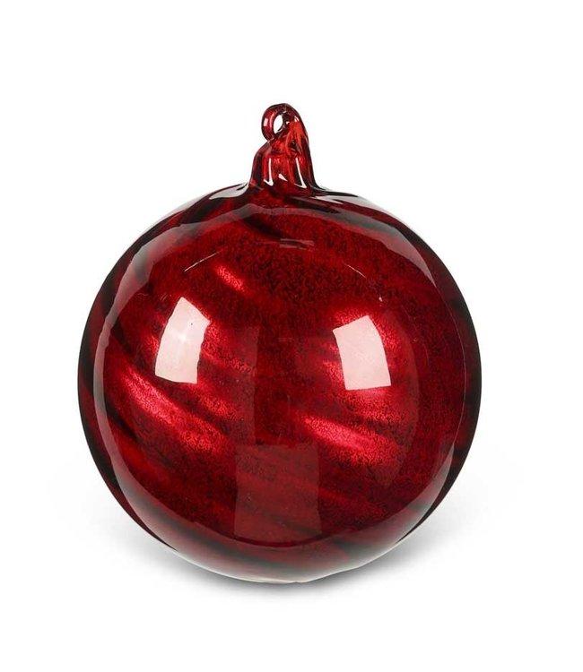 K&K Interiors 4 Inch Round Red Glass Ornament w/Ribbon Swirl
