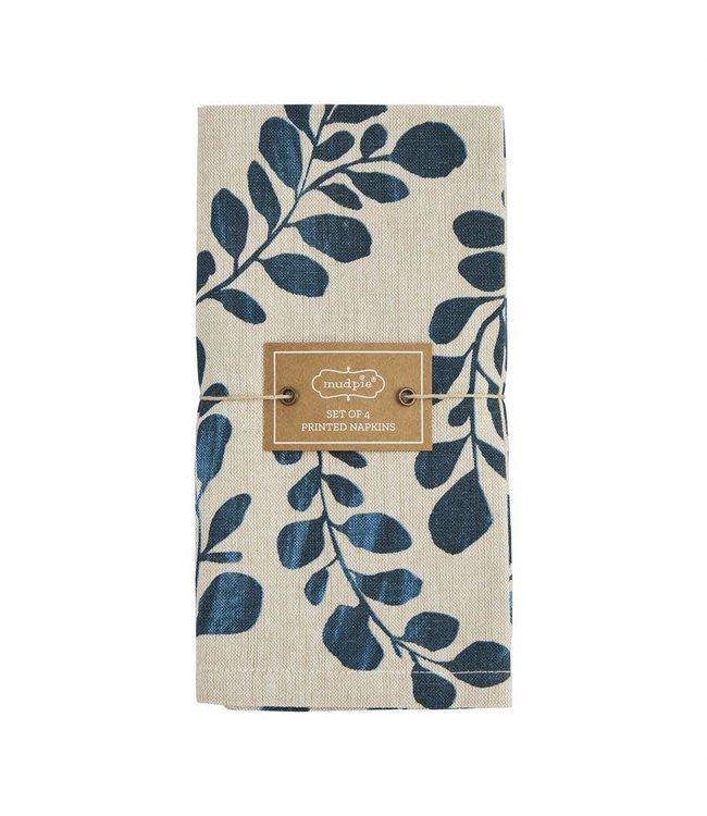 MudPie Blue Leaf Chambray Napkin Set