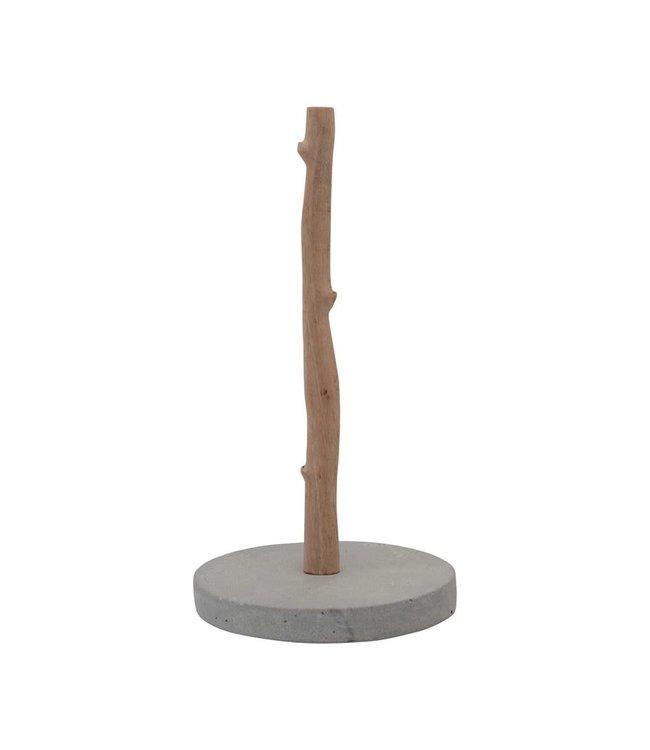 Creative Co-Op Mango Wood & Concrete Paper Towel Holder