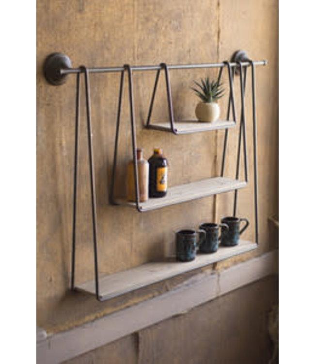 Kalalou Wood and Metal Triple Hanging Shelf