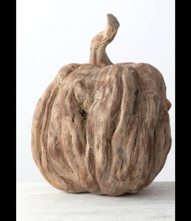 Sullivans Gift Faux Carved Wood Pumpkin- Large