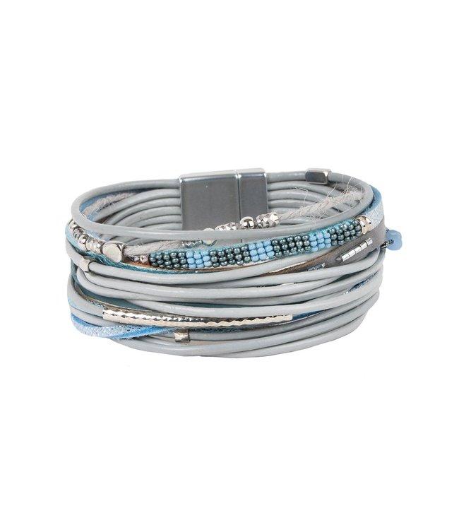 Saachi Laguna Beach Leather Bracelet: Blue