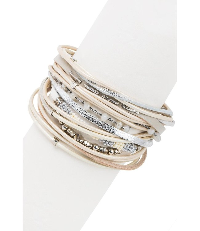 Saachi Laguna Beach Leather Bracelet: Beige