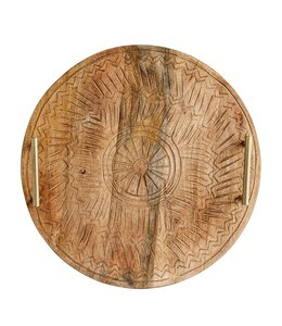 Creative Co-Op Round Hand-Carved Mango Wood Tray with Metal Handles