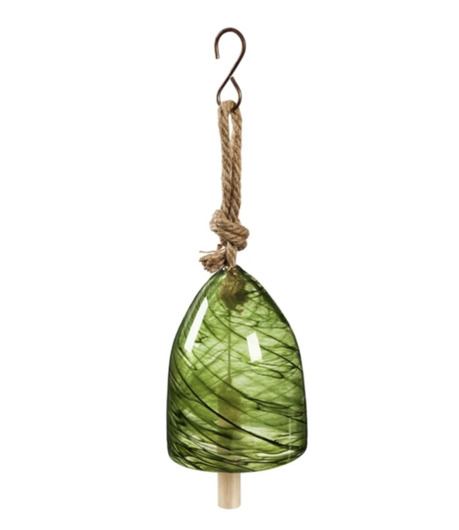 Evergreen Green Art Glass Swirl Bell Chime