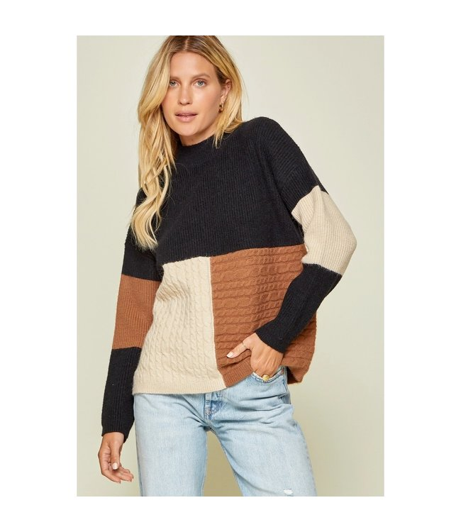 Andree Black and Mocha Color Block Sweater