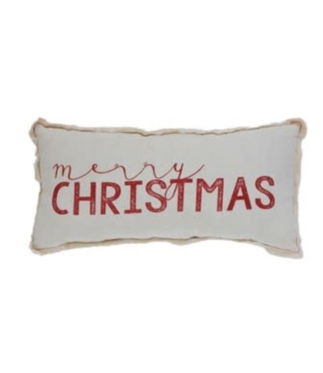 "Creative Co-Op Fabric Pillow w/ Silk Screen ""Merry Christmas"", w/ Fringed Edges"