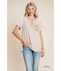 Cotton Bleu Washed Cotton Contrasted Shirt with Floral Woven Print