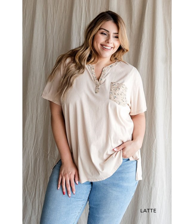 Cotton Bleu Washed Cotton Contrasted Top with Floral Woven Print