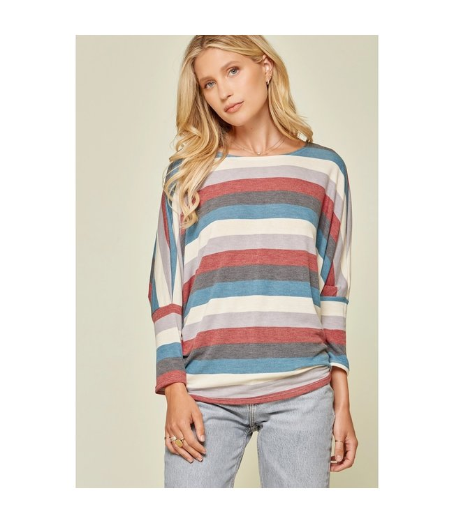 Andree Color Block Boat Neck Top