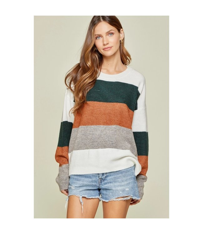 Andree Color Block Long Sleeve Sweater