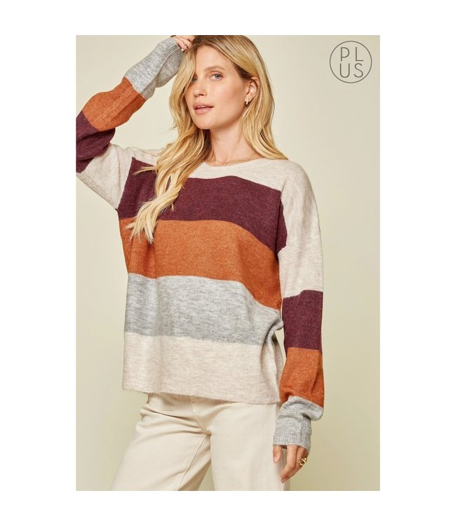 Andree Round Neck Color Block Sweater