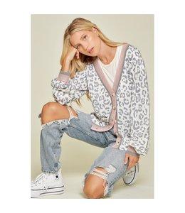 Andree Curvy Button Down Leopard Print Knit Cardigan