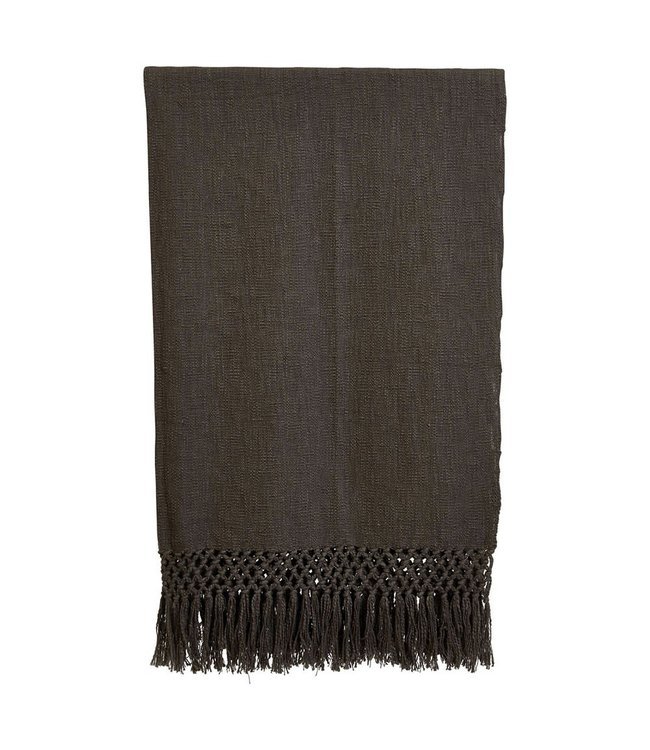 Creative Co-Op Woven Cotton Throw Blanket, Charcoal