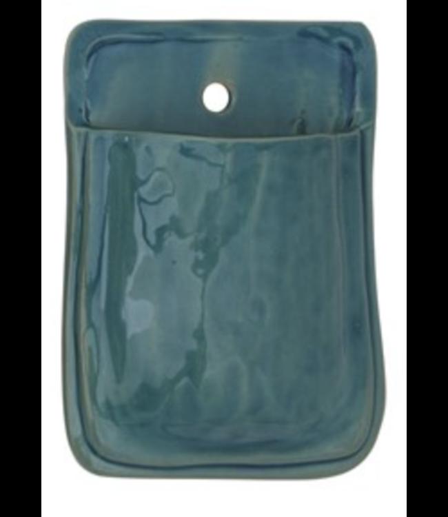 Creative Co-Op Terra-cotta Wall Planter- Blue