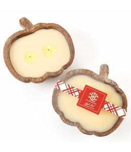 Lux Fragrances Apple Jack 2 Wick Candle in Wooden Pumpkin Bowl