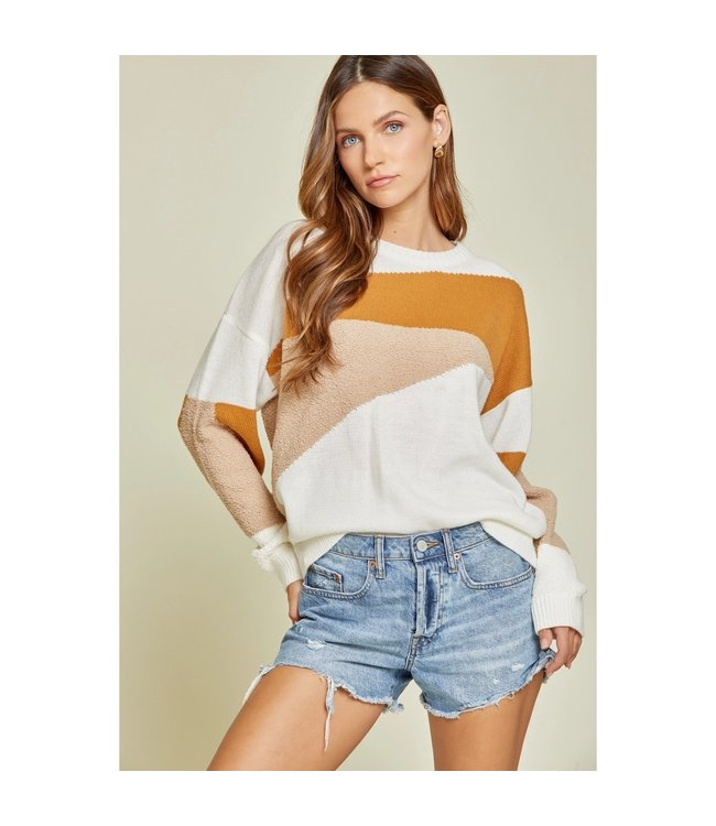 Andree Color Block Popcorn Detail Sweater