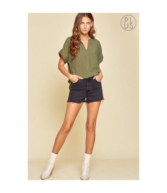 Andree Olive Short Sleeve Blouse