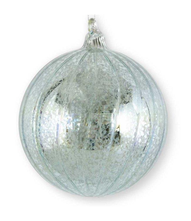 K&K Interiors Light Blue Ribbed Mercury Glass Round Ornament