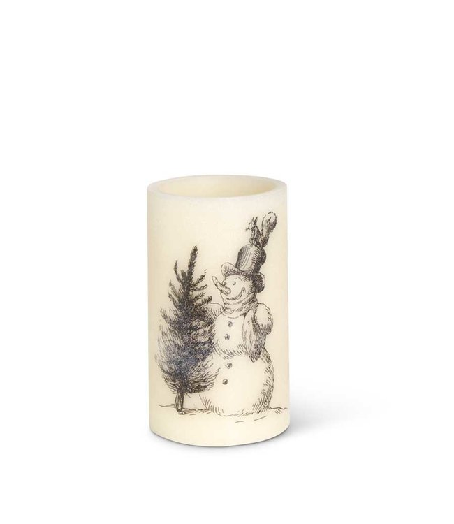K&K Interiors LED Vintage Snowman Wax Pillar Candle with Timer