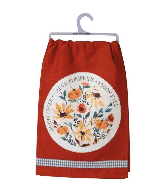Primitives By Kathy Carve Pumpkins Dish Towel