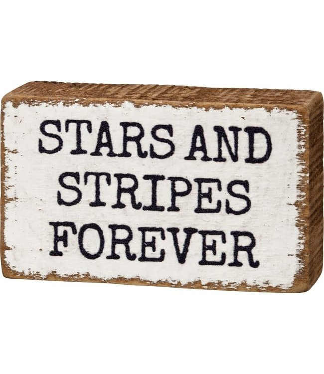 Primitives By Kathy Stars and Stripes Forever Block Sign