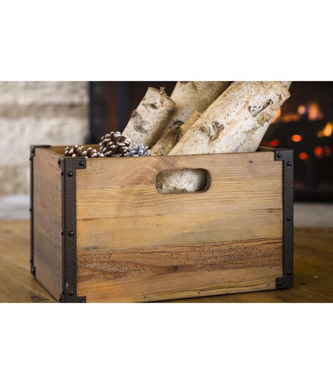 Plow & Hearth Deep Creek Rustic Wood Storage Crate
