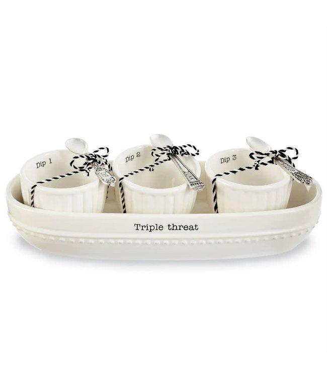 MudPie Triple Threat Cracker Bowl Set