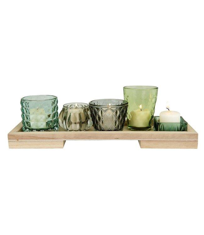 Creative Co-Op Wood Tray w/ 5 Glass Votive/Tealight Holders