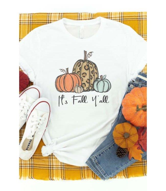 It's Fall Y'all Three Pumpkin Graphic Tee