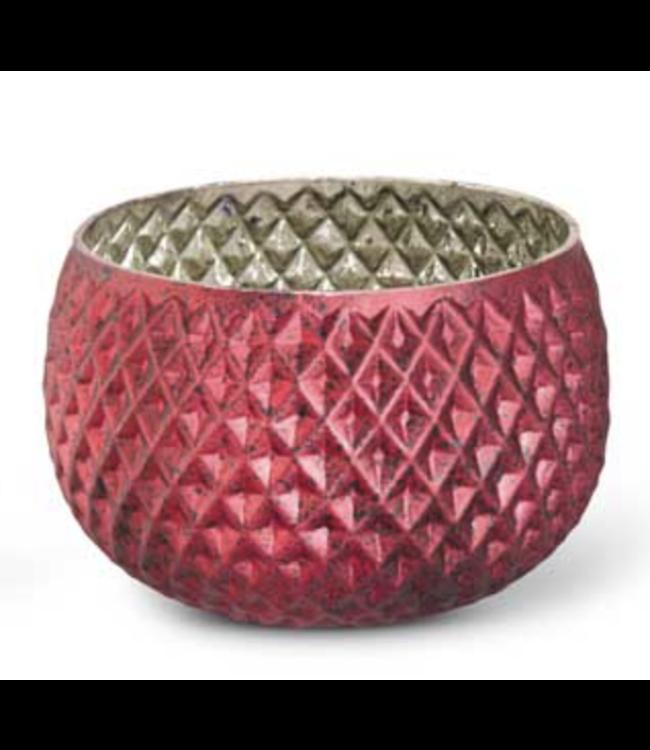 K&K Interiors Matte Red Mercury Glass Honeycomb Vase- Large
