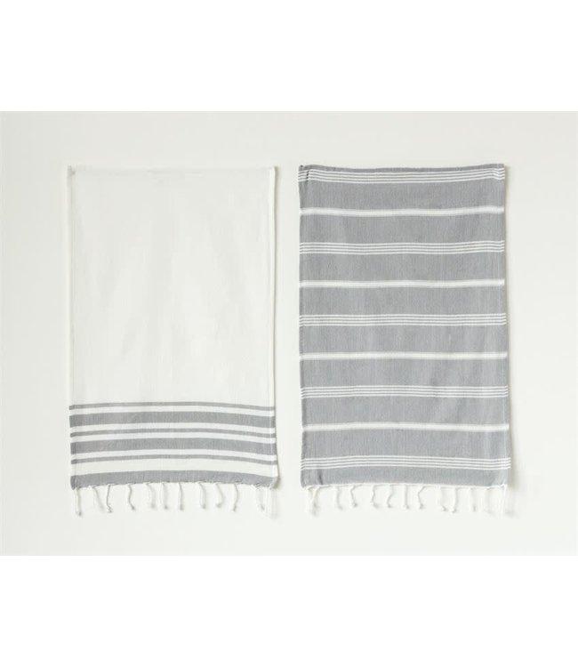 Bloomingville Cotton Woven Tea Towel-White