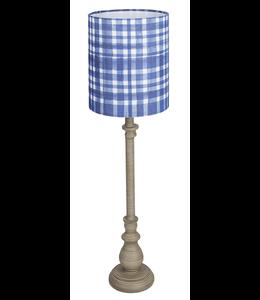 Ganz Greywash Buffet Lamp with Blue Plaid Shade