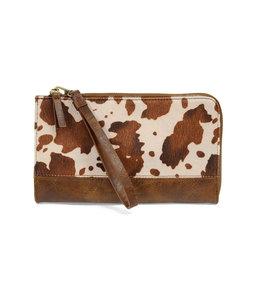 Joy Susan Brown Faux Fur  Cow Hide Convertible Wristlet & Wallet