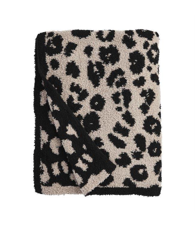 MudPie Black Leopard Blanket