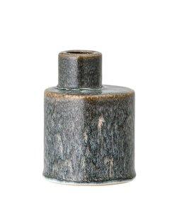 """Bloomingville 3"""" Round x 4""""H Stoneware Taper Holder/Vase, Reactive Glaze, Blue & Brown"""