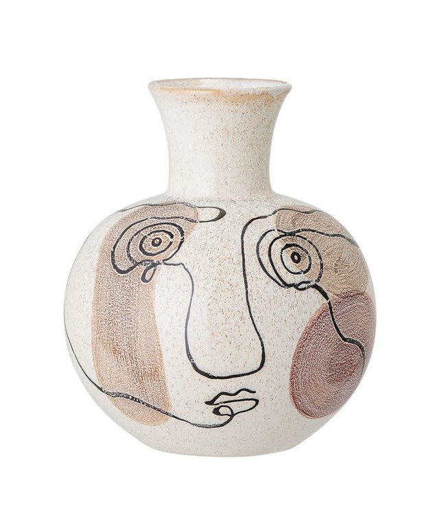 """Bloomingville Hand-Painted Stoneware Vase with Face 7.75"""" Round x 9"""""""