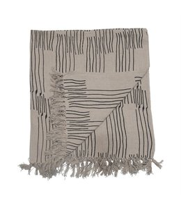 Bloomingville Recycled Cotton Blend Printed Throw with Line Pattern & Fringe, Black & Natural