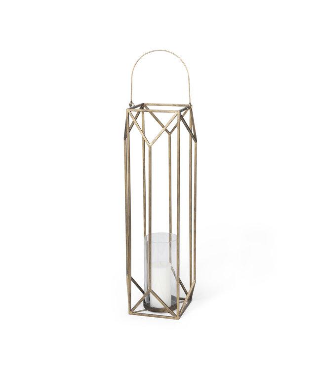 Mercana Ivy Gold Metal Geometric Cage Candle Holder Lantern - Large