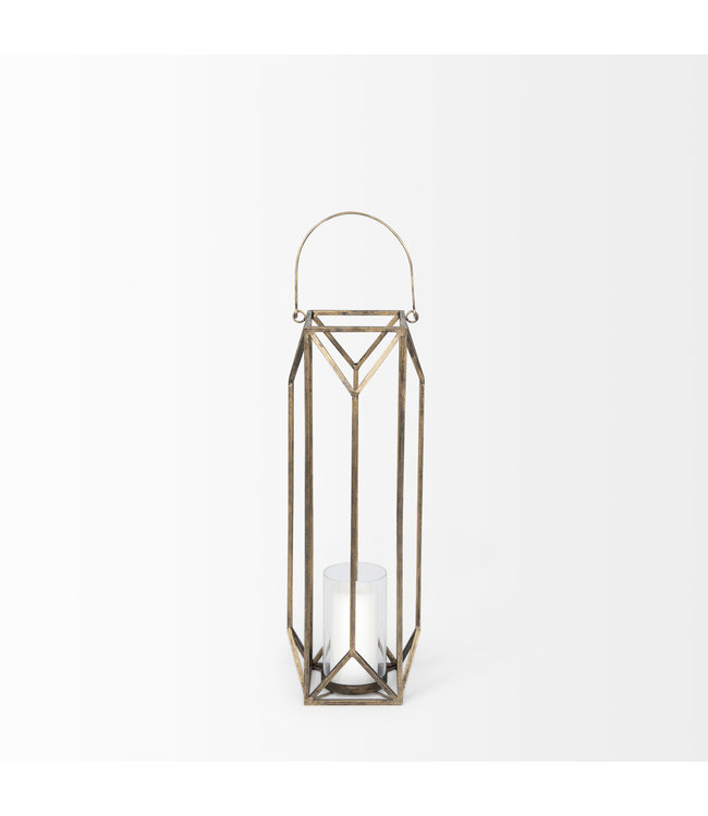 Mercana Ivy Gold Metal Geometric Cage Candle Holder Lantern - Small