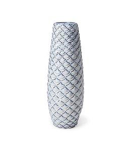 Mercana Troi II Large Blue White Fishscale Ceramic Vase