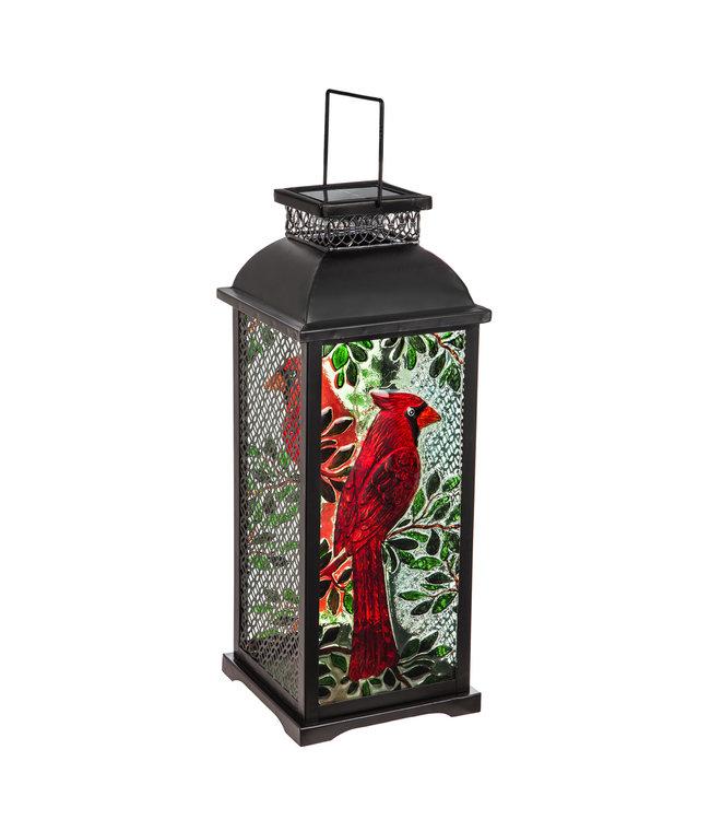 Evergreen Chasing Light Solar Glass Panel Statement Lantern, Cardinal