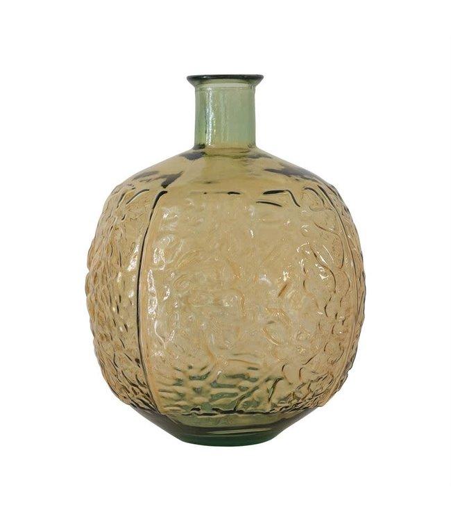"Bloomingville 13"" Round x 17.25""H Embossed Glass Vase, Green"