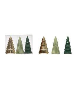 Blue Studio Creative Porcelain Trees, Green, Gold & Sage Colors, Boxed Set of 3