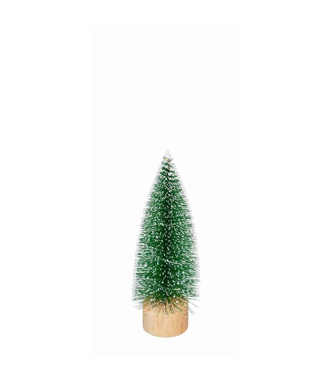 Evergreen Small LED Bottlebrush Tree, White Tipped Snow Covered