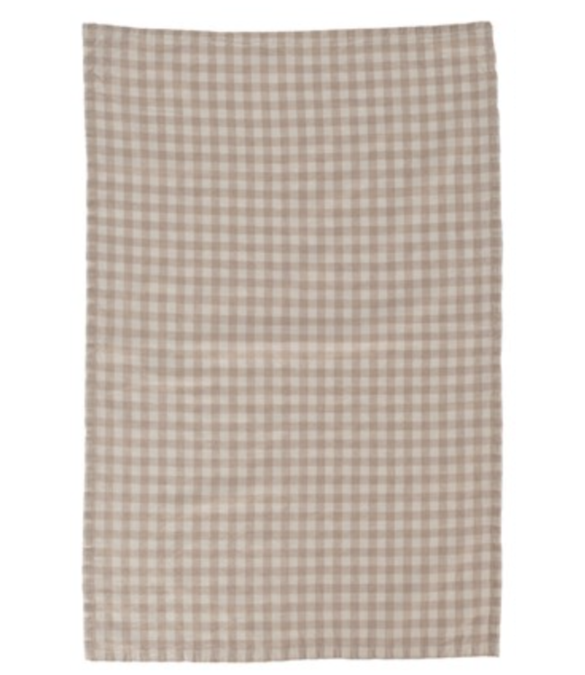 Creative Co-Op Woven Cotton Tea Towel with Check Pattern- Cream
